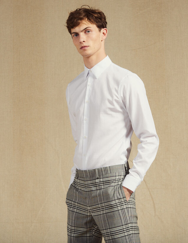 Camisa Formal De Tejido Oxford : SOLDES-CH-HSelection-PAP&ACCESS-2DEM color Blanco