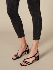 Legging de punto de lúrex : Pantalones color BURGUNDY