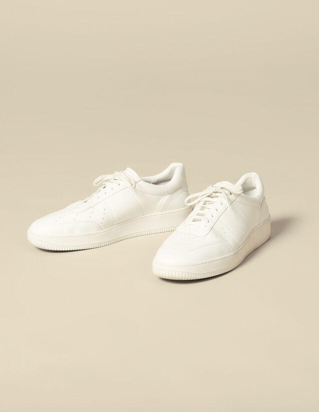 Deportivas De Piel Lisa : Zapatos color Blanco