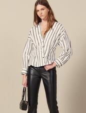 Camisa Ajustada De Popelina De Rayas : -50% color Blanco