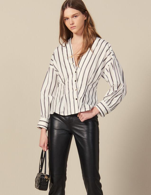 Camisa Ajustada De Popelina De Rayas : FBlackFriday-FR-FSelection-30 color Blanco
