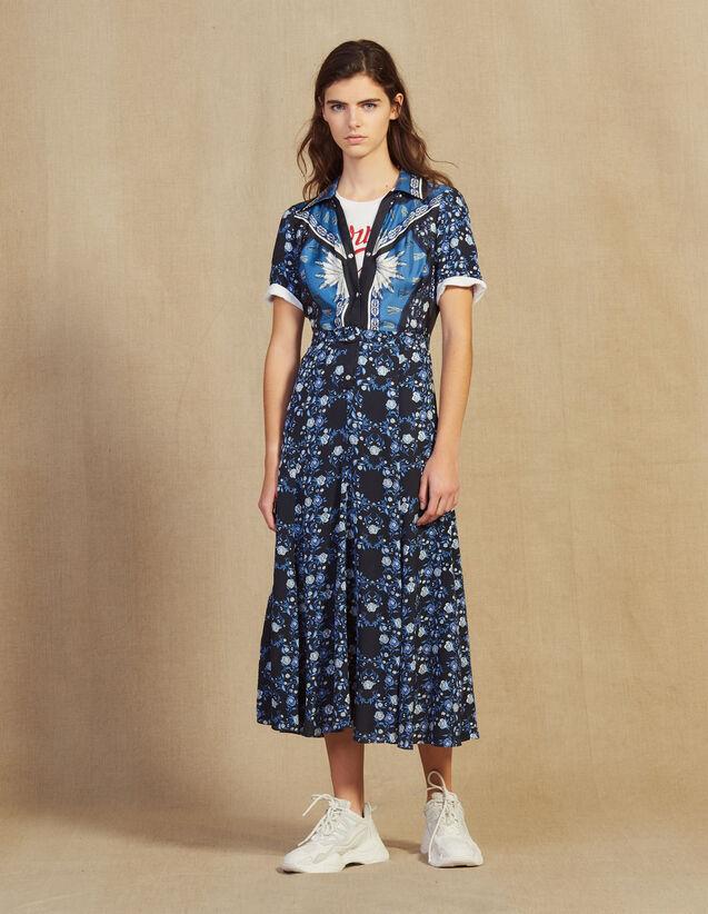 Vestido Camisero Largo Fluido Estampado : null color Azul