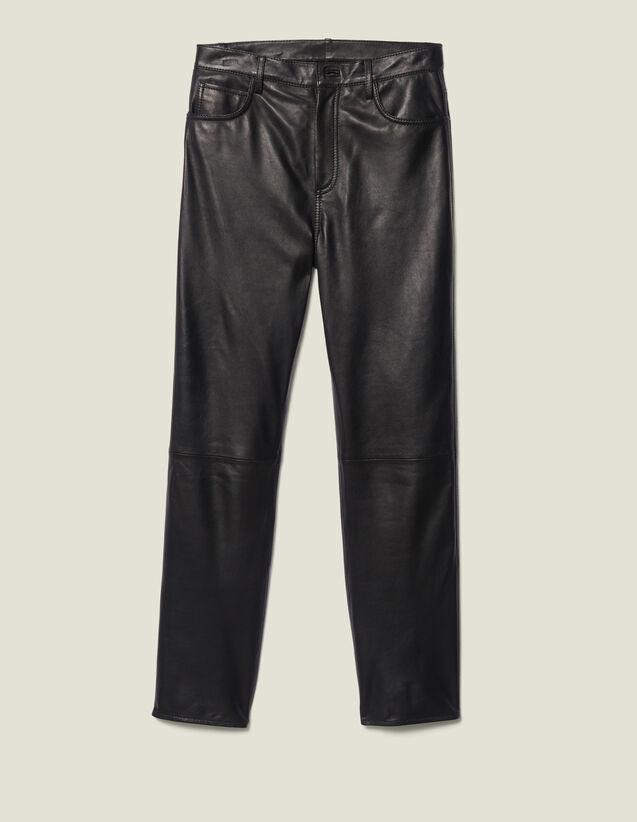 Pantalón de piel recto con cortes : FBlackFriday-FR-FSelection-30 color Marron