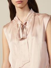 Top de satén de seda con cuello con lazo : -50% color Carne