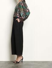 Top de seda estampada : Tops & Camisas color Negro