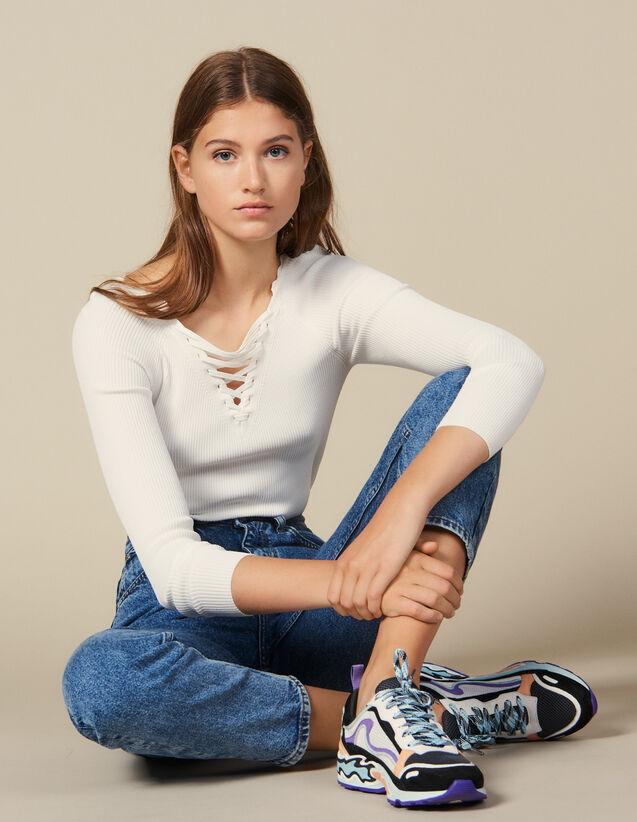 Jersey Con Cuello Atado : Jerseys & Cárdigans color Blanco