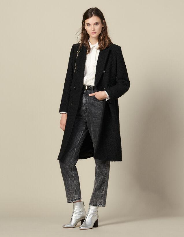 Abrigo largo ajustado de tweed : Abrigos color Negro