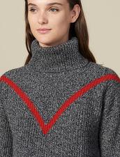 Jersey De Cuello Vuelto De Mezclilla : Jerseys & Cárdigans color Gris