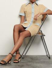 Vestido de tweed fantasía y denim : Vestidos color Beige