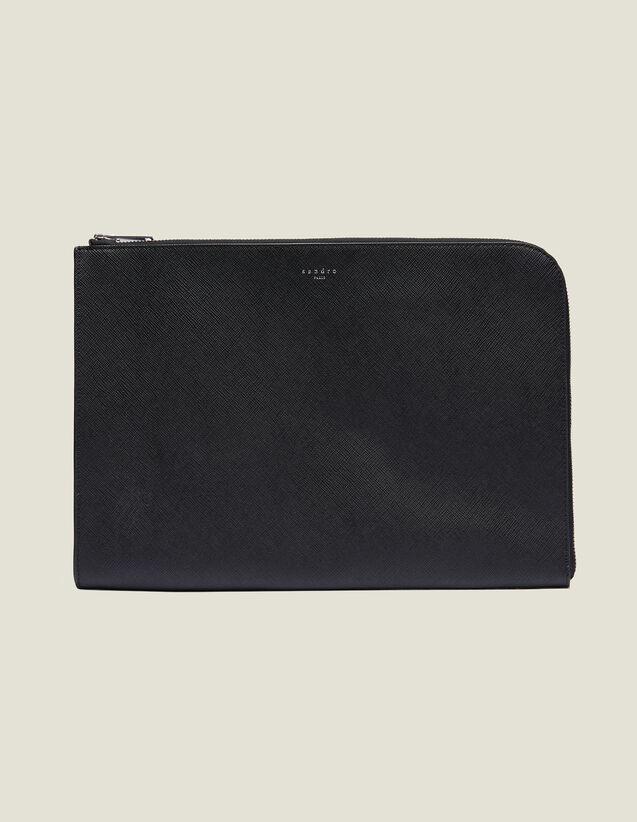 Portadocumentos De Piel Y Cremallera : Colección de Verano color Negro