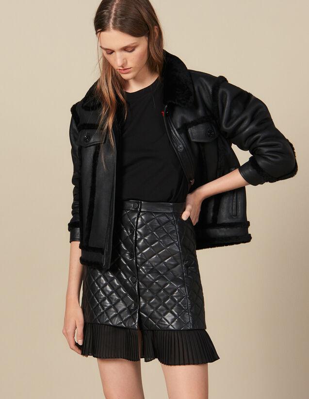 Falda Corta De Piel Acolchada : Faldas & Shorts color Negro