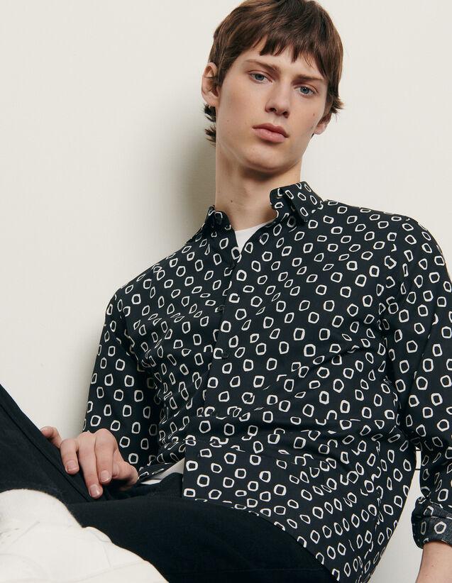 Camisa de algodón estampado : Camisas color Negro