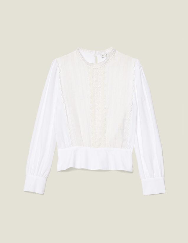 Top Con Canesú De Encaje : Tops & Camisas color Blanco