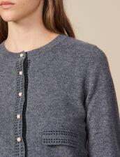 Cárdigan con pespuntes en contraste : Jerseys & Cárdigans color Gris