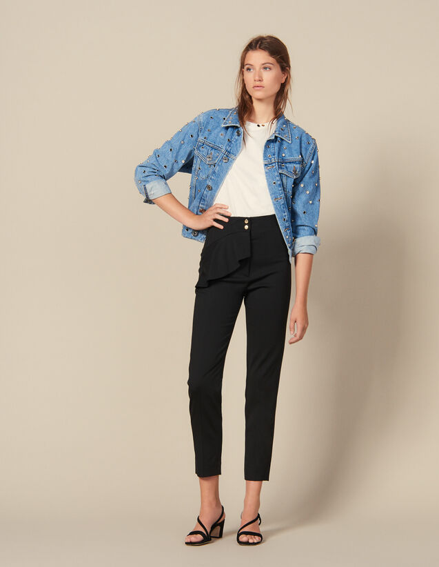 Pantalón afilado con faldón : Pantalones color Negro