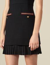Vestido corto adornado con pasamanos : Vestidos color Negro