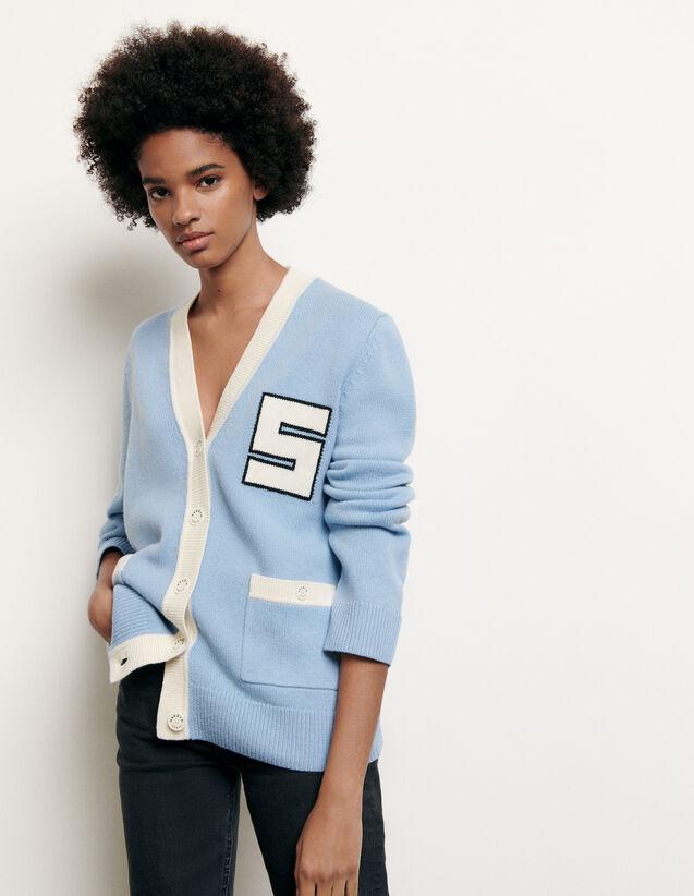 Cárdigan de lana tipo colegial : Nueva Colección de Verano color Ciel