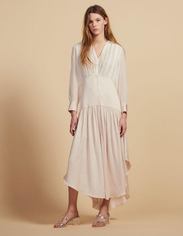 Vestido Largo Asimétrico Dos Materiales : LastChance-FR-FSelection color Rosa palo