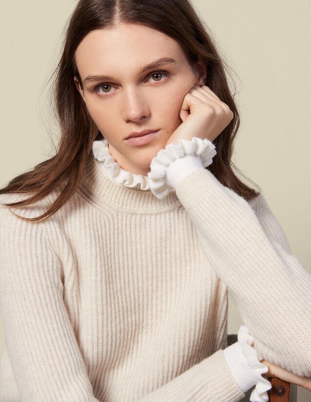 Jersey de cuello y puños en contraste : Jerseys & Cárdigans color Beige