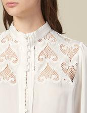 Blusa adornada con un inserto de guipur : Tops & Camisas color Crudo