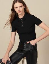Polo de canalé con cuello de guipur : FBlackFriday-FR-FSelection-30 color Negro