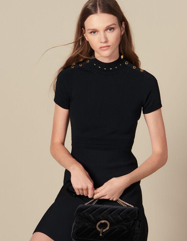 Vestido de punto y cuello alto : Vestidos color Negro
