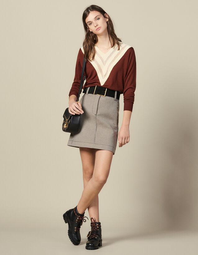 Jersey Con Cuello En V Efecto Encaje : FBlackFriday-FR-FSelection-Pulls&Cardigans color Brown