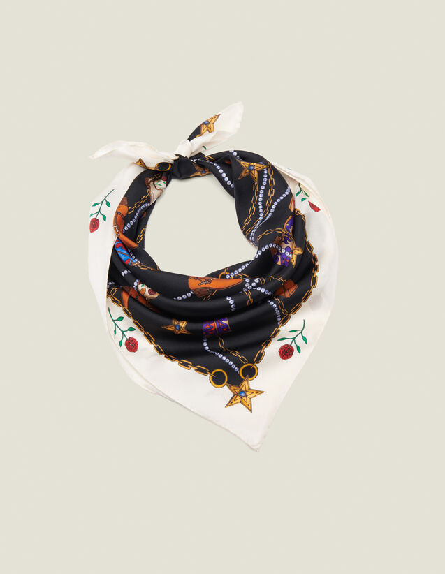 Fular de seda con estampado de botines : Toda la colección de Invierno color Negro