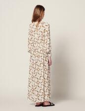 Vestido Largo Fluido Estampado Mariposas : null color Crudo