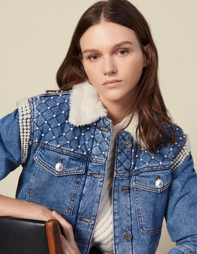 Chaqueta con forro de imitación de piel : Cazadoras & Chaquetas color Bleu jean
