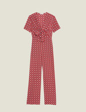 Mono De Pantalón Fluido Estampado : null color Rojo
