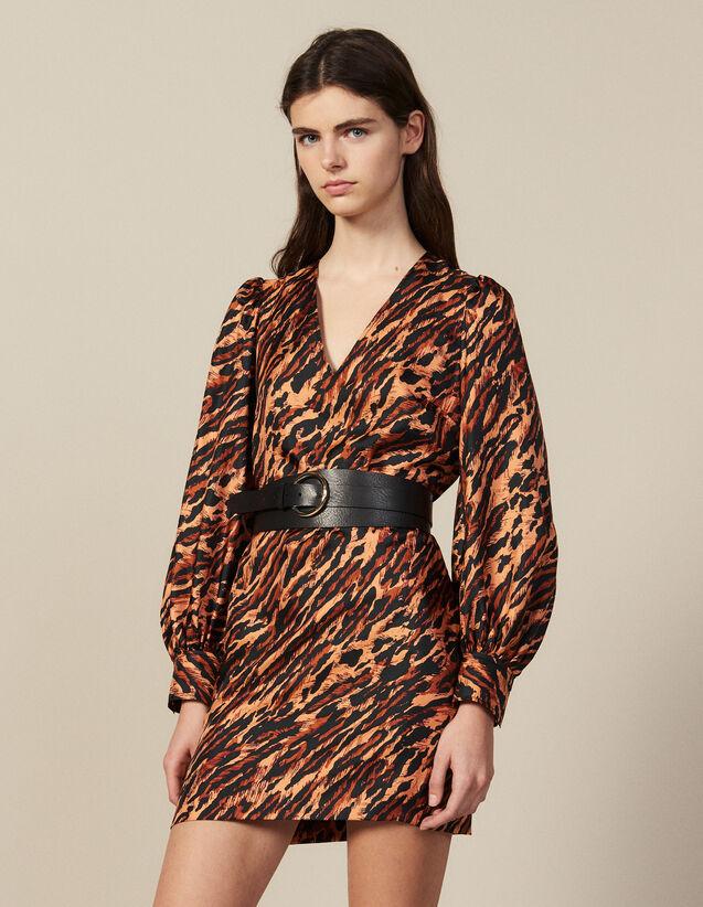 Vestido Corto Estampado De Seda : Novedades color Fauve
