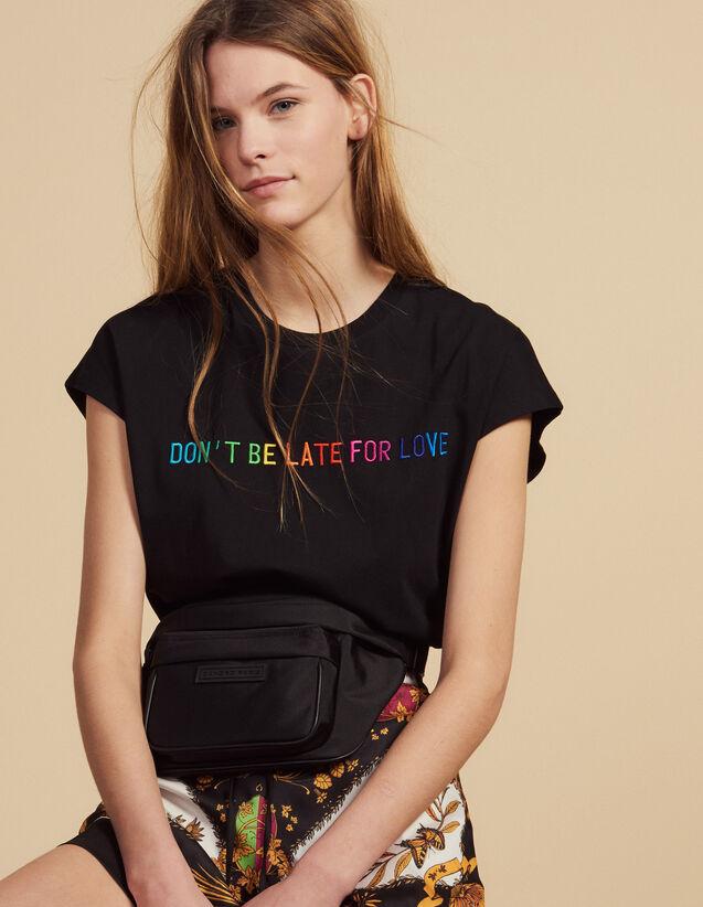 Camiseta Con Mensaje Bordado De Algodón : Camisetas color Negro