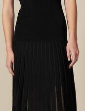 Vestido Largo De Punto Ajustado : -50% color Negro