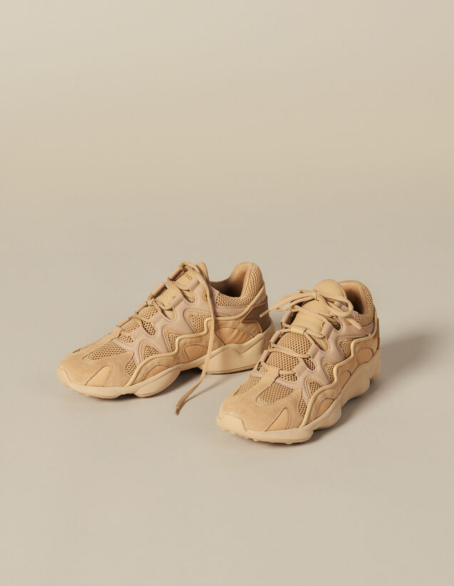 Deportivas de varios materiales : Zapatos color Beige