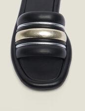 Mules Planos De Mezcla De Materiales : null color Negro/dorado