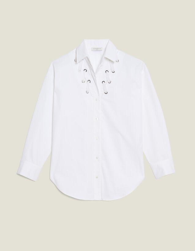 Camisa Escotada Adornada Con Ojales : Tops & Camisas color Blanco