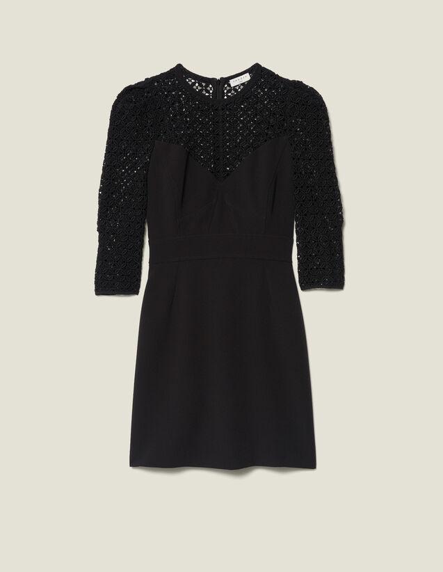 Vestido corto con inserto : FBlackFriday-FR-FSelection-30 color Negro