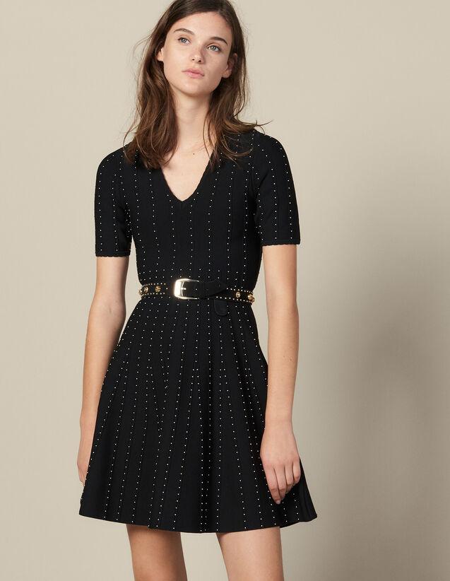 Vestido De Punto Con Perlas Pequeñas : Vestidos color Negro