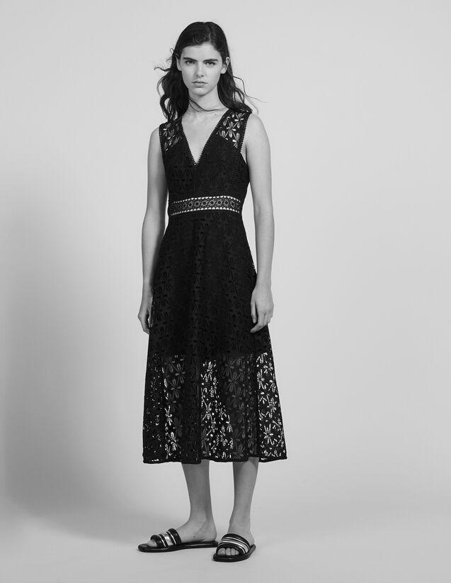 Vestido Midi De Guipur Inglés : Vestidos color Negro