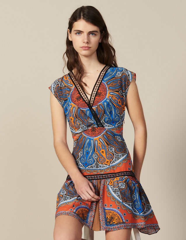 Vestido Corto Estampado Con Volantes : Vestidos color Multicolor
