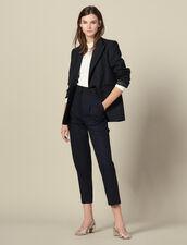 Pantalón recto con cinturón de esmoquin : -50% color Marino