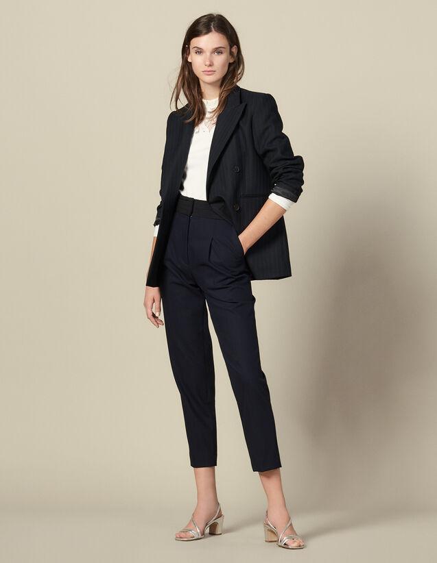 Pantalón recto con cinturón de esmoquin : Pantalones color Marino