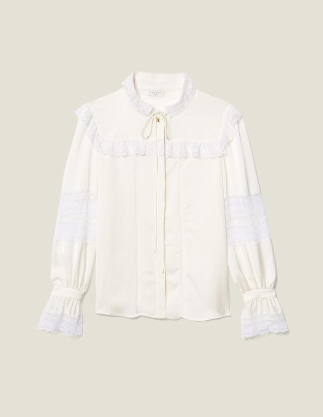 Camisa adornada con encaje : Lo mejor de la temporada color Crudo