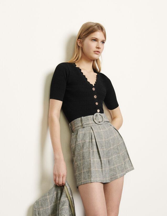 Short de cuadros con cinturón : Faldas & Shorts color Gris/Beige