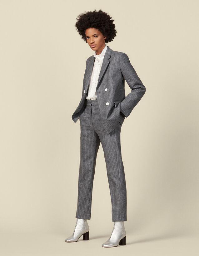Pantalón de franela de raya diplomática : Pantalones color Gris