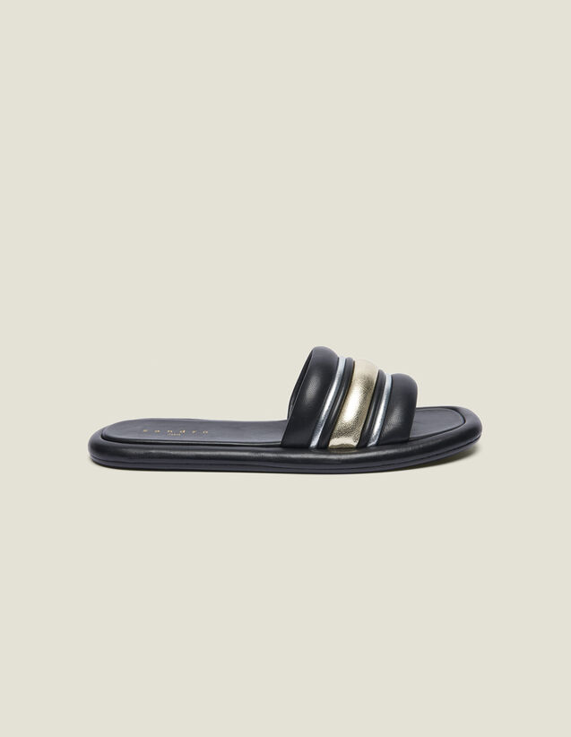Mules Planos De Mezcla De Materiales : LastChance-FR-FSelection color Negro/dorado