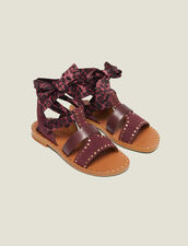 Sandalias Planas Con Fular Anudable : null color Burdeos