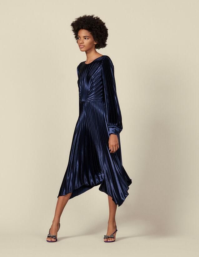 Vestido plisado asimétrico : Vestidos color Marino