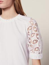 Camiseta Con Manga De Encaje : null color Blanco